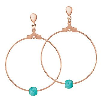 Eternal Collection Stylistic Turquoise Howlite Rose Gold Tone Hoop Clip On Earrings