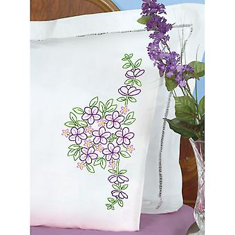 Stamped Pillowcases W/White Perle Edge 2/Pkg-Floral Bouquet 1600 639
