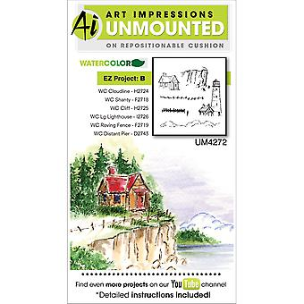 Art Impressions Watercolor Cling Rubber Stamp Project B 4272