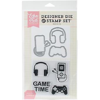 Echo Park sterven & stempel Combo Set-Game Time EPDIST38