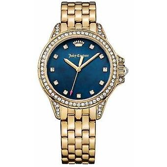 Juicy Couture Womens Malibu Gold Tone Stainless Steel Blue Mother Of Pearl 1901492 Watch