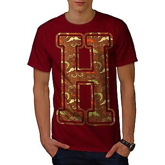 Letter H Hipster Fashion Men Red T-shirt | Wellcoda