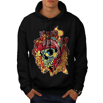 Pirate Flames Death Skull Men Black Hoodie | Wellcoda