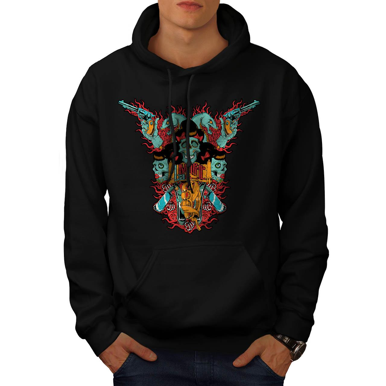 Skull Blade Monster Gang Fight Men Black Hoodie | Wellcoda