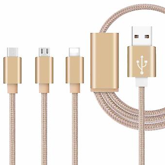 ONX3 (Gold) Premium Quality 1 Meter Length 3 in 1 Multiple USB Charging Cable High Speed Nylon Braided with Type C / 8 Pin Lighting / Micro USB Connector for Acer Iconia A1-830 7.9