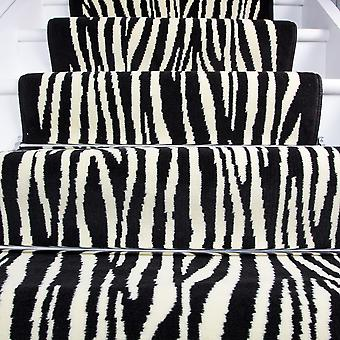 80cm Width - Contemporary Black Zebra Print Stair Carpet