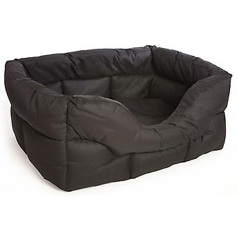 Country Dog Heavy Duty Waterproof Rectangle Drop Front Softee Bed Black 75x60x27cm