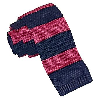 Hot Pink & Navy Striped Knitted Tie