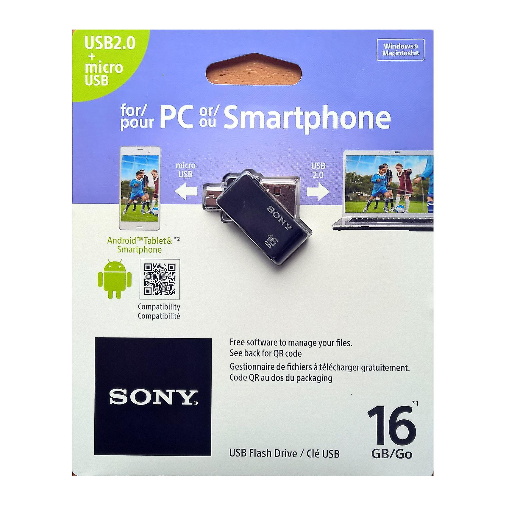 Sony 16GB OTG (On-The-Go) USB 2.0 Flash Drive for Android Devices - Black.
