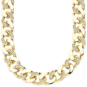 Iced out bling micro pave curb chain - helped CUBAN 15 mm gold