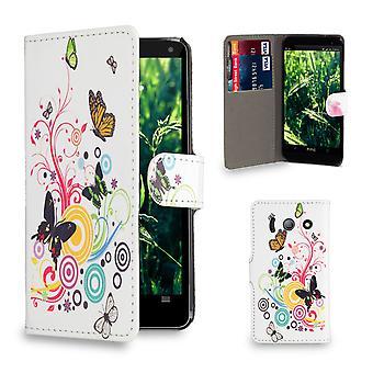 Design PU Leder Case Buchcover für Huawei Ascend Y300 - Farbe Schmetterling