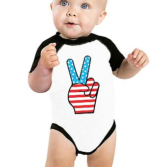 Peace Sign American Flag Baby Raglan Onesie Cute Baby Shower Gifts