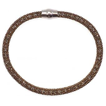 W.A.T Sterling Silver Chocolate Brown Sparkle Magnet Bracelet
