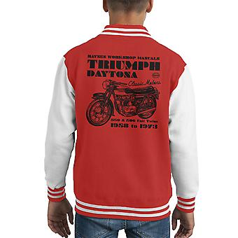 Haynes Owners Workshop Manual Triumph Daytona 350 500 Kid's Varsity Jacket