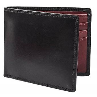 Dents Smooth Leather Bifold Wallet - Black/Claret Red