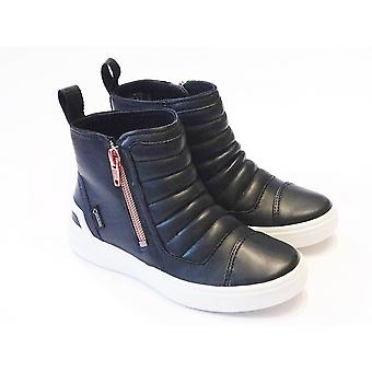 Ecco Ginnie Girls Black Leather Goretex Ankle Boots