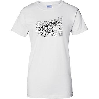 Spitfire Schematic Diagram -  WW2 Fighter Aircraft - Ladies T Shirt