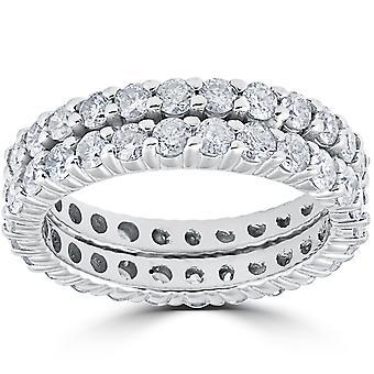 3ct diamante eternità doppia fila 14k White Gold