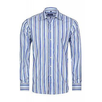 DERBY OF SWEDEN shirt men's long sleeve-blue spread collar shirt
