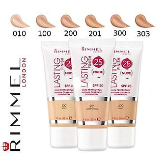 3 x Rimmel London Lasting Finish 25 HR naakt Stichting 30ml - verschillende tinten