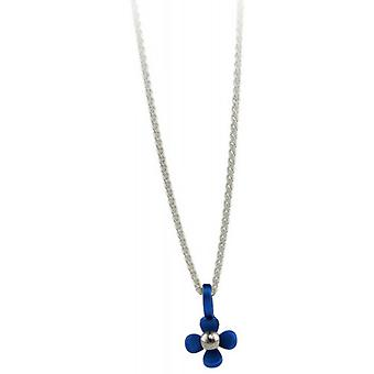 Ti2 Titanium Small Four Petal Flower Pendant - Navy Blue