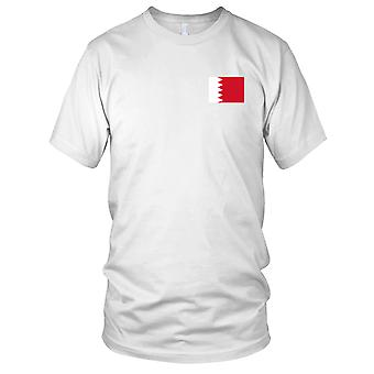 Bahrain Country National Flag - Embroidered Logo - 100% Cotton T-Shirt Mens T Shirt