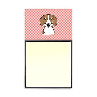 Dambord roze Beagle Refiillable notitie houder of Postit Opmerking Dispenser