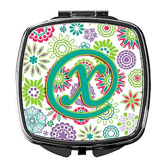 Letter X Flowers Pink Teal Green Initial Compact Mirror