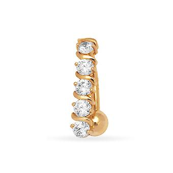 14 k Gelb Gold Zirkonia 14 Gauge Phantasie Körper Schmuck Bauch Ring - Maßnahmen 21x5mm