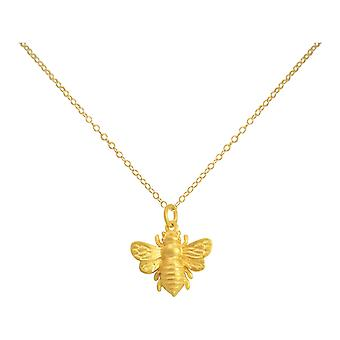 Gemshine - ladies - necklace - pendant - 925 Silver - gold plated - BEE - bee - 45 cm