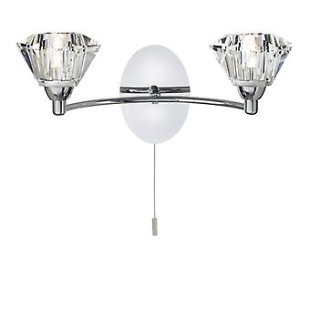 Sierra Chrome And Glass Wall Light - Searchlight 2632-2cc