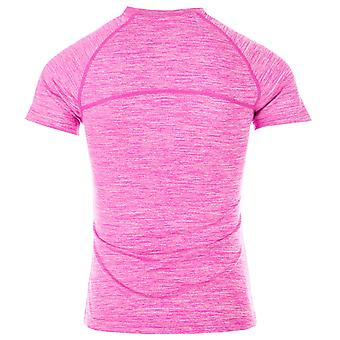 Junior Girls More Mile Running T-Shirt In Pink- Short Sleeve- Ribbed Collar-