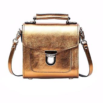 Zatchels Womens/Ladies Handcrafted Metallic Leather Sugarcube Bag (British Made)