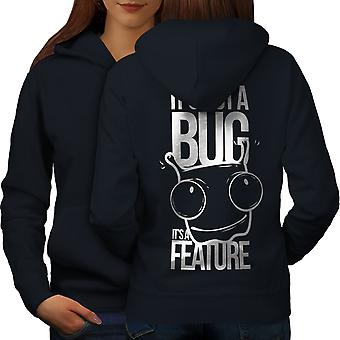 Not A Bug Geek Women NavyHoodie Back | Wellcoda