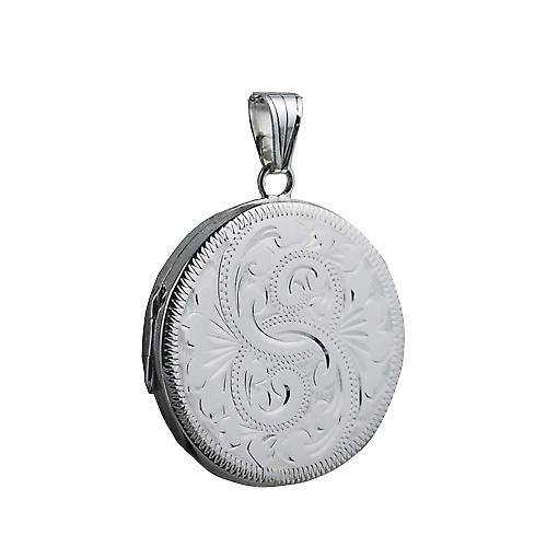 Silver 29mm engraved flat round Locket