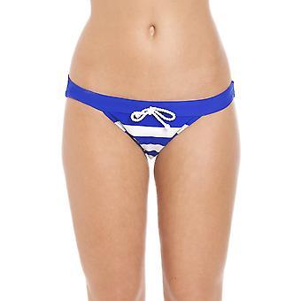 Camille Nautical Stripe Plain Waistband Bikini Brief Blue