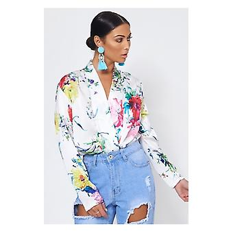 The Fashion Bible Mabel White Floral Satin Bodysuit