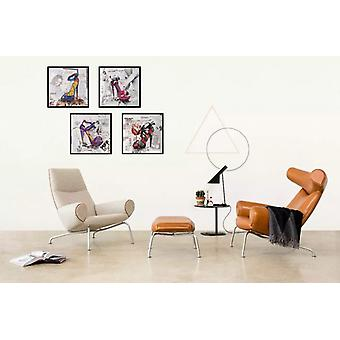 Decorative wall picture collage paper mural of high heels handmade black 52x52cm
