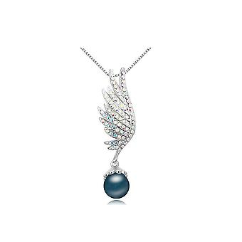 Pendant wing Pearl blue and adorned with white Swarovski Crystal and Rhodium plate
