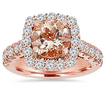 2 1/2CT Morganite & Diamond Cushion Halo Engagement Ring 14K Rose Gold