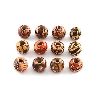 Packet 50+ Beige/Mixed Wood 12 x 13mm Plain Round Beads HA23280