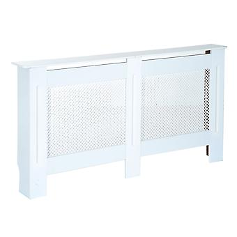 HOMCOM Wooden Radiator Cover Heating Cabinet Modern Home Furniture Grill Style Diamond Design White Painted (Large)