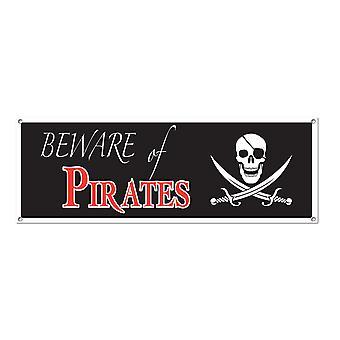 Остерегайтесь пиратов знак баннер 5' х 21