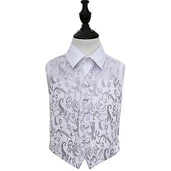 Zilveren bloemen bruiloft vest voor jongens