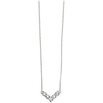 Beginnings Cubic Zirconia V Shape Necklace - Silver/Clear