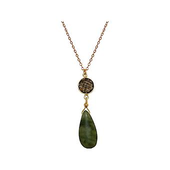 GEMSHINE necklace with jade gemstone and smoky Quartz. 925 Silver necklace high-quality gold-plated 60 cm chain. Made in Munich, Germany. Delivered in a fine case. Also as a set with earrings.