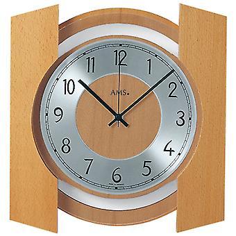 Radio controlled wall clock radio clock wall clock radio housing solid wood beech