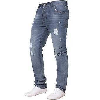 Mens Mid Stonewash Slim Fit Ripped Jeans