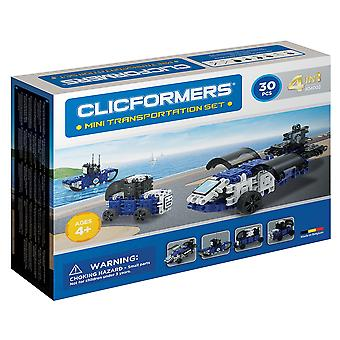 Clicformers Mini Transport Set 4 in 1 Vehicles 30 PCS Building and Construction