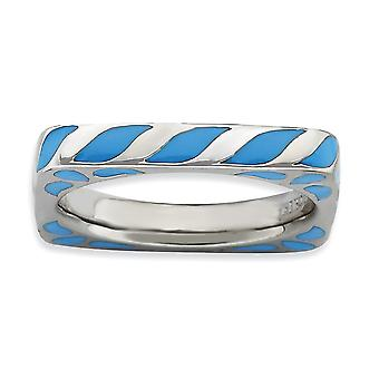 3.25mm 925 Sterling Silver Green Enamel Rhodium-plated Stackable Expressions Polished Blue Enameled Square Ring - Ring S